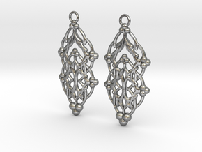 Quilted Sq Earrings (Open Gates) in Natural Silver