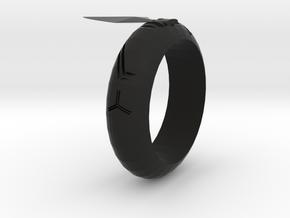 Arrowhead Ring in Black Natural Versatile Plastic