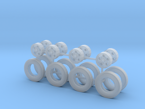 1/50th Tag trailer type five hole rims and tires  in Smooth Fine Detail Plastic