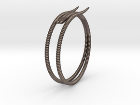 """b. """"Life of a worm"""" Part 2 - """"Soil mates"""" bracele in Polished Bronzed Silver Steel: Medium"""