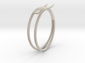 "b. ""Life of a worm"" Part 2 - ""Soil mates"" bracele in Rhodium Plated Brass: Medium"