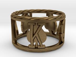 Royal Flush Spades Ring  in Natural Bronze: 8 / 56.75