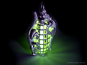 Tritium vial* holder with reptiles. *Not included. in Natural Silver