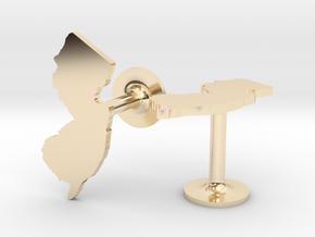 New Jersey State Cufflinks in 14k Gold Plated Brass