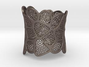 Double Voronoi Bracelet (v2) in Polished Bronzed Silver Steel