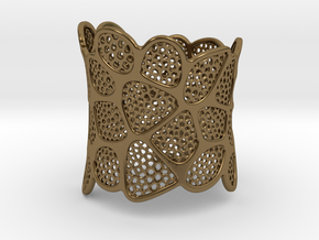 Double Voronoi Bracelet (v2) in Polished Bronze