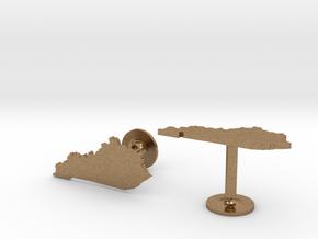 Kentucky State Cufflinks in Natural Brass