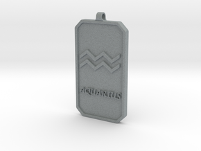 Zodiac Dogtag/KeyChain-AQUARIUS in Polished Metallic Plastic
