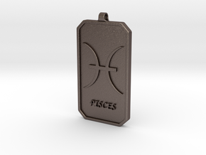 Zodiac Dogtag/KeyChain-PISCES in Polished Bronzed Silver Steel