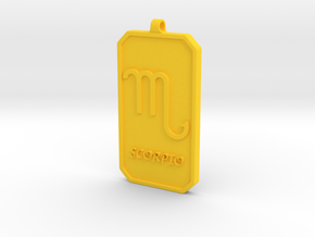 Zodiac Dogtag/KeyChain-SCORPIO in Yellow Processed Versatile Plastic