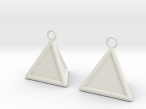 Pyramid triangle earrings type 16 in White Natural Versatile Plastic