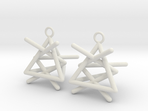 Pyramid triangle earrings type 1 in White Natural Versatile Plastic