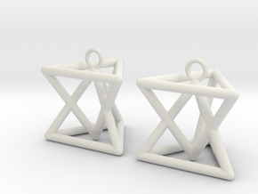 Pyramid triangle earrings type 7 in White Natural Versatile Plastic