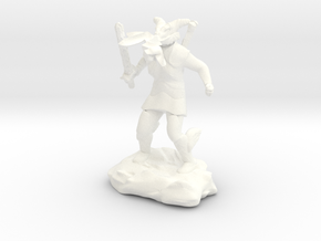 Female Dragonborn Cleric Breathing Lightning in White Processed Versatile Plastic