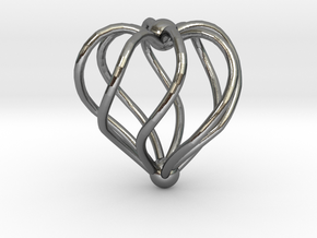 Twisted Heart Pendant3 in Polished Silver