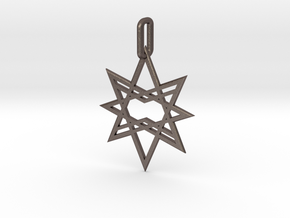 Double Octagon Star Pendant in Polished Bronzed Silver Steel