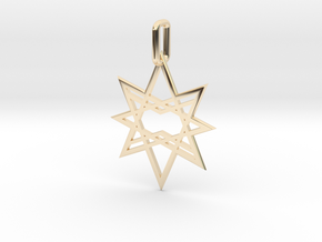 Double Octagon Star Pendant in 14k Gold Plated Brass