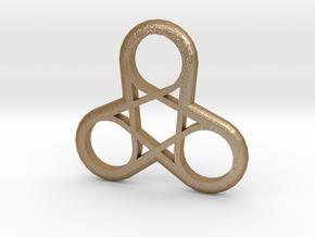 Triple Loop Pendant in Matte Gold Steel