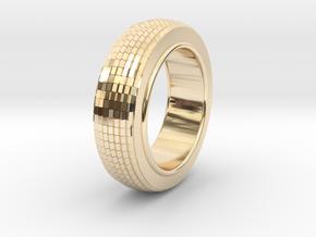Ø0.650 inch/Ø16.51 mm Prisma Ring Model B in 14k Gold Plated Brass
