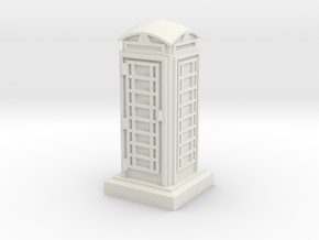 N Gauge Phone Box in White Natural Versatile Plastic