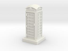 N Gauge Phone Box in White Natural Versatile Plastic