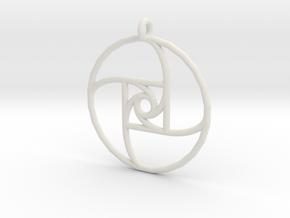 Square Spiral Pendant in White Natural Versatile Plastic