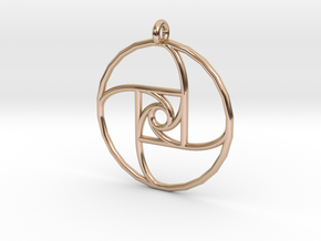 Square Spiral Pendant in 14k Rose Gold Plated Brass
