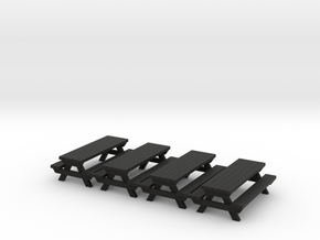 Picnic Table - 72:1 Scale (4) in Black Natural Versatile Plastic
