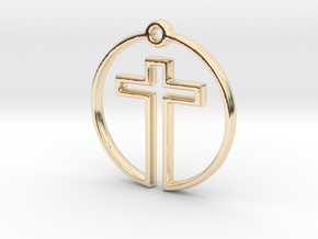 Cross in Circle in 14k Gold Plated Brass