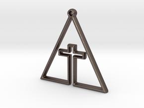 CROSS IN TRI in Polished Bronzed Silver Steel