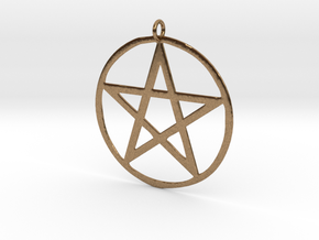 Wiccan Pentacle Charm in Natural Brass