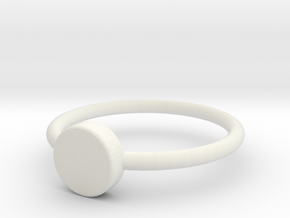 Button Ring Size 5 in White Natural Versatile Plastic
