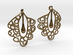 Granada Earrings (Curved Shape). in Polished Bronze