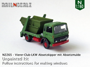 Vierer-Club-LKW Absetzkipper (N 1:160) in Smooth Fine Detail Plastic