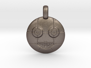 3D Sculpted Robot Head Pendant  in Polished Bronzed Silver Steel