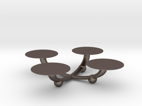 Candle Stand in Polished Bronzed Silver Steel