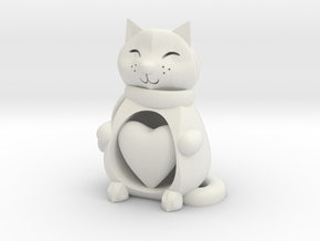 Cat with a Heart in White Natural Versatile Plastic