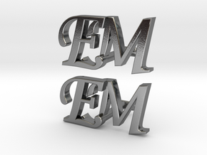 EM Cufflinks in Polished Silver