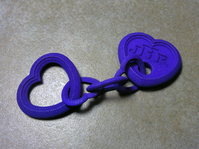 Heart Keychain (Monogrammed) in Purple Strong & Flexible Polished
