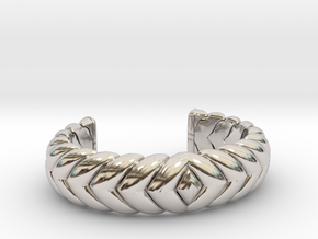 V CUFF 2016 EXTRA SMALL in Rhodium Plated Brass