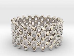 Lattice Ring No.2 in Rhodium Plated Brass