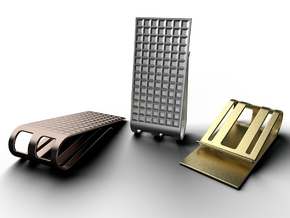 Square Pattern Money Clip 2 in Polished Metallic Plastic