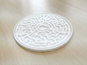 Maze Coaster in White Natural Versatile Plastic
