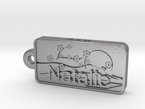 Natalie Name Japanese tag in Natural Silver