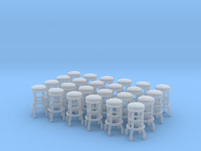 50's soda fountain bar stool 02. HO Scale (1:87) in Smooth Fine Detail Plastic