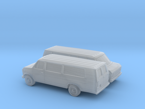 1/160 2X 1975-91 Ford E-Series Van Extended in Smooth Fine Detail Plastic
