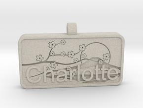 Charlotte Name Tag kanji katakana in Natural Sandstone