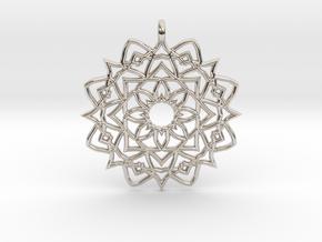 Mandala Pendant in Rhodium Plated Brass