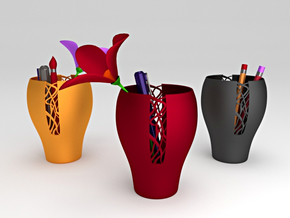 Woven Patterned Pot in Red Processed Versatile Plastic