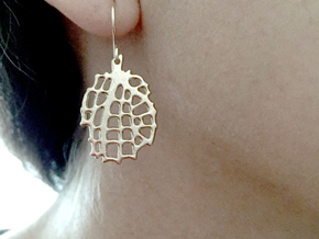 Sea Fan Ear Pendant in Polished Bronze